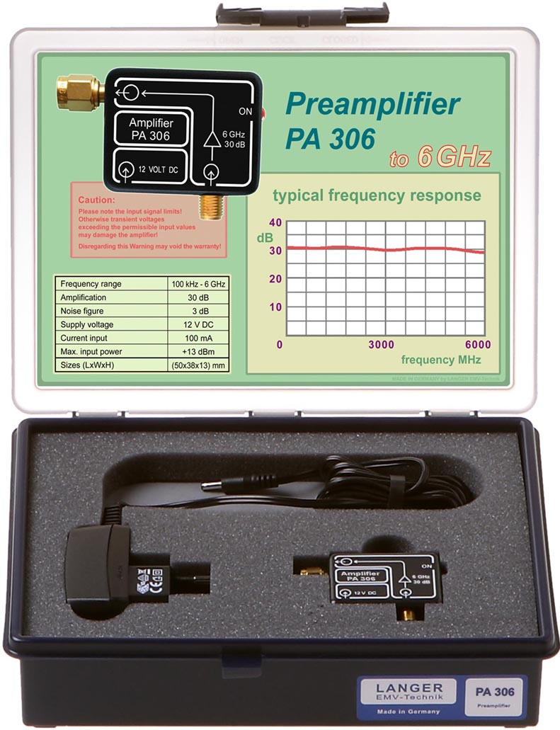 PA 306 SMA set, Preamplifier 100 kHz to 6 GHz