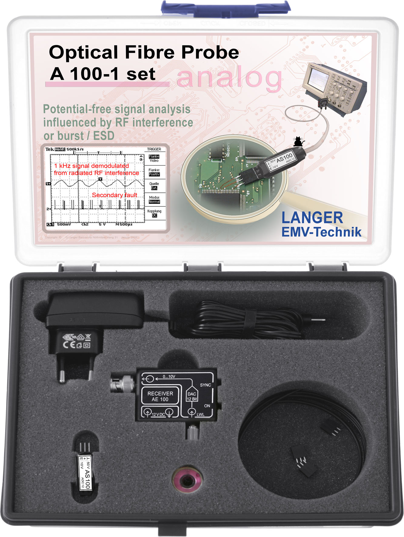 Langer Emv A100 1 Set Optical Fibre Probe Channel 25 Khz Fiber Circuit Boards And Components Optics Tool Kit Optic